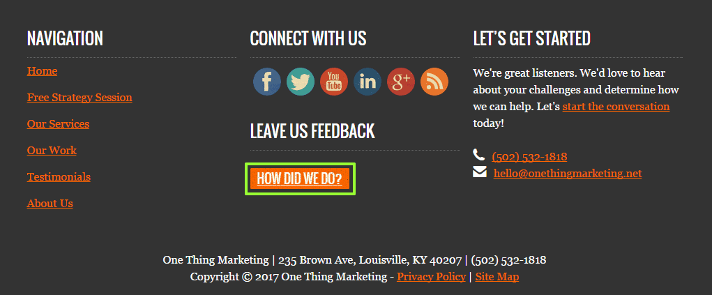 A Leave Feedback button is a great way to gather local business reviews in Louisville, KY.