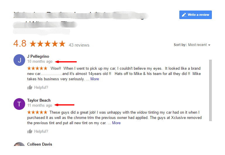 This is an example of local business reviews on Google for a company in Louisville, KY.