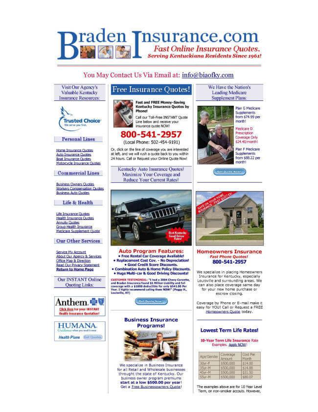 bradeninsurance.com homepage - before