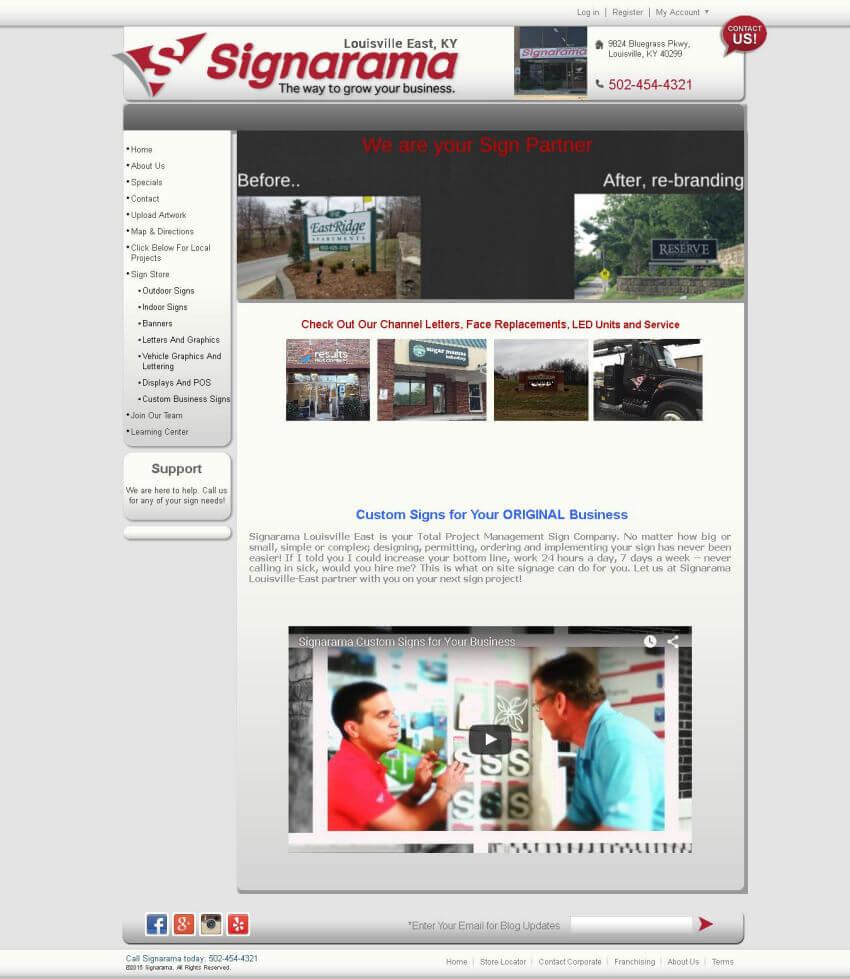 signarama louisville east homepage - before