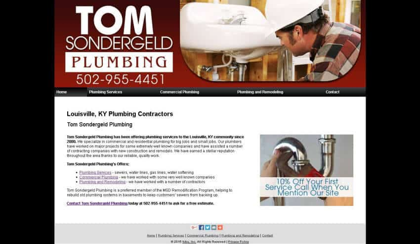 tspplumbing homepage - before