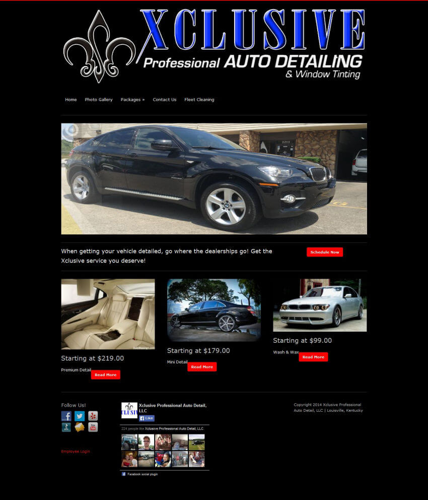 xclusiveautodetailing homepage - before