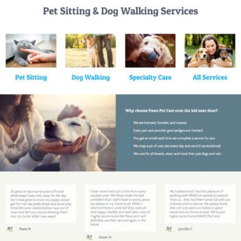 Paws Pet Care - Homepage After