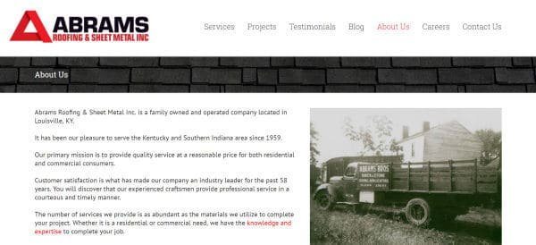 Abrams Roofing, a business in Louisville, KY, is a great example of a good homepage design.