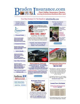 bradeninsurance homepage - before