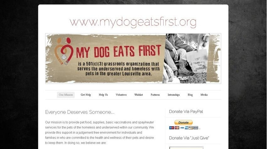 mydogeatsfirst homepage - before