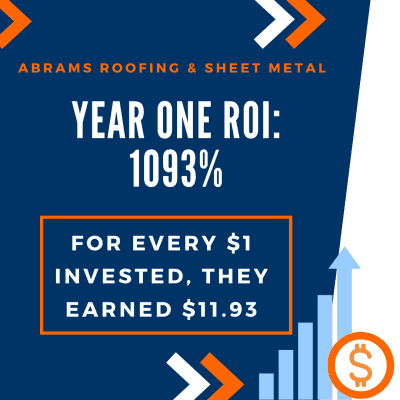 Abrams Roofing, in Louisville, KY, ROI stats.