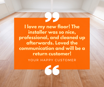 When your flooring company gets a new review, market it on social media to attract new leads.