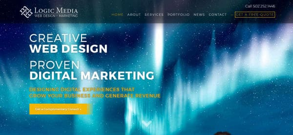 Logic Media is a good example for Louisville companies to use when building their business website.